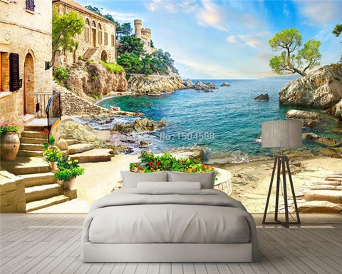 Italian Seaside Vista Wallpaper Mural, Custom Sizes Available Household-Wallpaper Maughon's