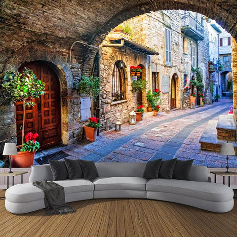Italian Street Scene Wallpaper Mural, Custom Sizes Available Household-Wallpaper Maughon's