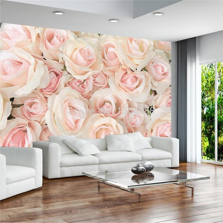 Modern Romantic Warm Pink Rose Wallpaper Mural, Custom Sizes Available Household-Wallpaper Maughon's