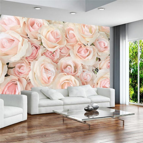 Image of Modern Romantic Warm Pink Rose Wallpaper Mural, Custom Sizes Available Household-Wallpaper Maughon's