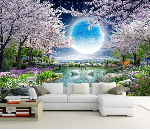 Image of Moon Cherry Blossom Tree, Nature Landscape Wallpaper Mural, Custom Sizes Available Household-Wallpaper Maughon's