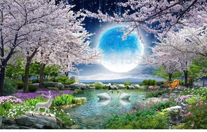 Moon Cherry Blossom Tree, Nature Landscape Wallpaper Mural, Custom Sizes Available