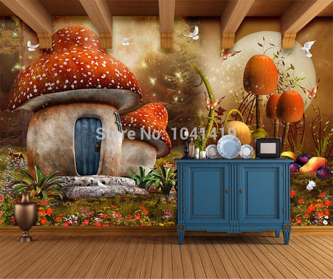 Mushroom House Wallpaper Mural, Custom Sizes Available Household-Wallpaper Maughon's
