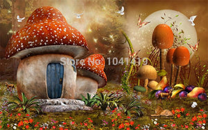 Mushroom House Wallpaper Mural, Custom Sizes Available