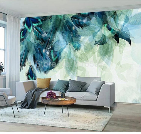 Image of Nordic Minimalism Blue Feather Wallpaper Mural, Custom Sizes Available Household-Wallpaper Maughon's