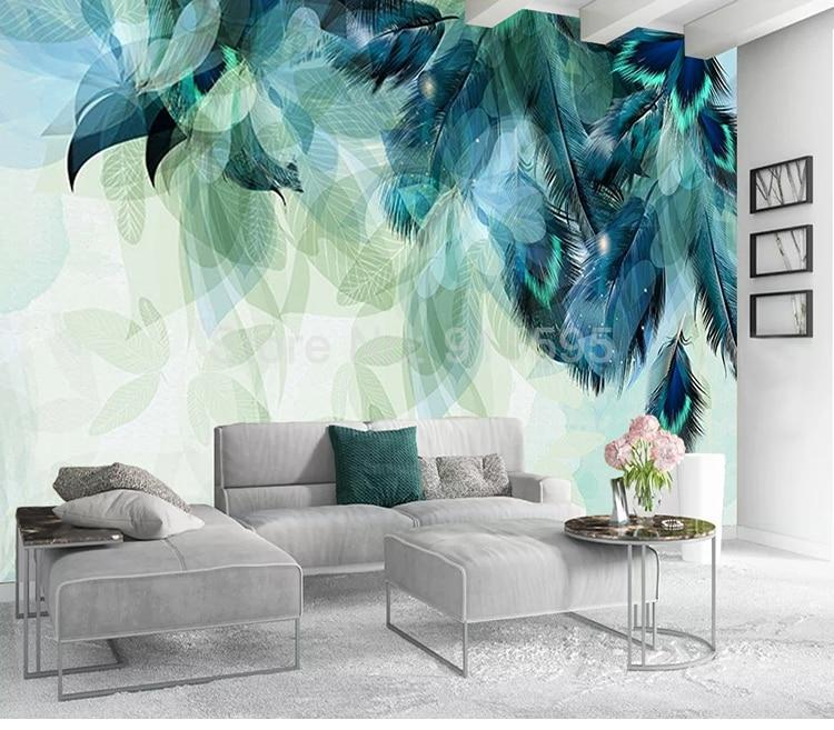 Nordic Minimalism Blue Feather Wallpaper Mural, Custom Sizes Available Household-Wallpaper Maughon's