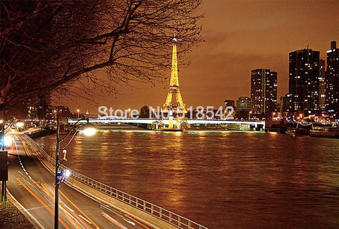 Image of Paris at Night Eiffel Tower Wallpaper Mural, Custom Sizes Available Household-Wallpaper Maughon's