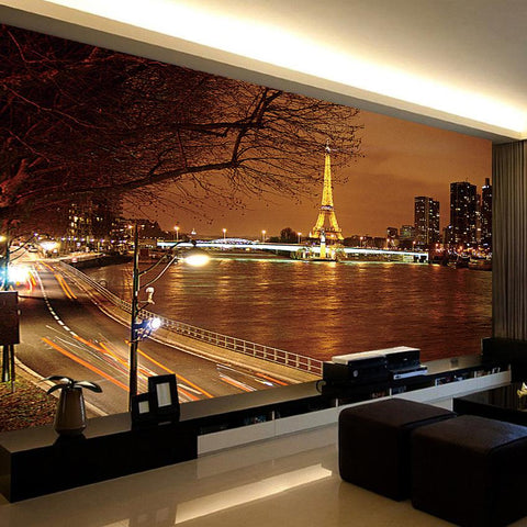 Paris at Night Eiffel Tower Wallpaper Mural, Custom Sizes Available Household-Wallpaper Maughon's