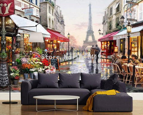Image of Paris Street Scene with Eiffel Tower Wallpaper Mural, Custom Sizes Available Household-Wallpaper Maughon's