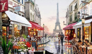 Paris Street Scene with Eiffel Tower Wallpaper Mural, Custom Sizes Available