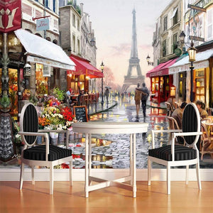 Paris Street Scene with Eiffel Tower Wallpaper Mural, Custom Sizes Available Household-Wallpaper Maughon's