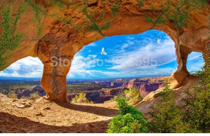 Rock Arches With Canyon View Wallpaper Mural, Custom Sizes Available