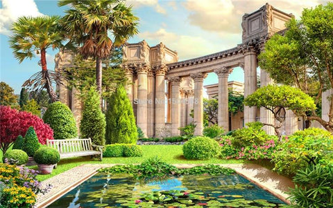 Image of Roman Columns Garden Wallpaper Mural, Custom Sizes Available Household-Wallpaper Maughon's