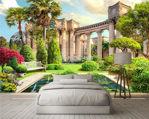Roman Columns Garden Wallpaper Mural, Custom Sizes Available Household-Wallpaper Maughon's