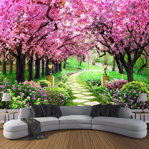 Romantic Cherry Blossom Tree Wallpaper Mural, Custom Sizes Available Household-Wallpaper Maughon's