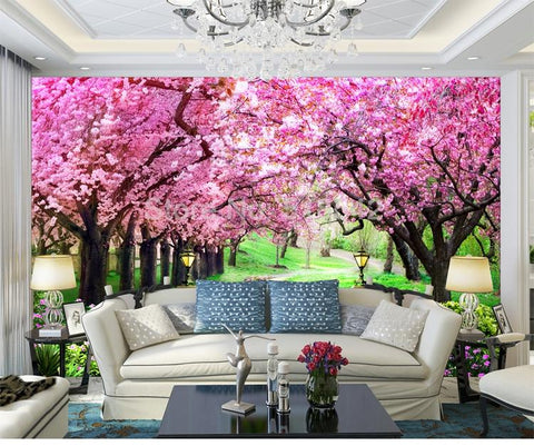Image of Romantic Cherry Blossom Tree Wallpaper Mural, Custom Sizes Available Household-Wallpaper Maughon's
