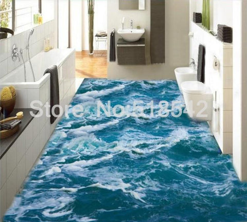 Rough Waves Seawater PVC Vinyl Floor Mural, Self Adhesive, Custom Sizes Available Household-Wallpaper-Floor Maughon's