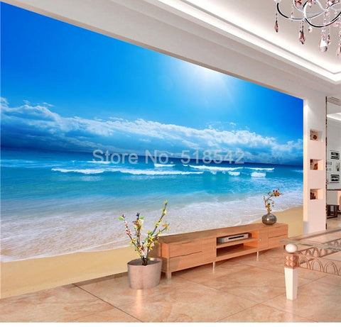 Image of Sea Sunshine Beach Wallpaper Mural, Custom Sizes Available Household-Wallpaper Maughon's
