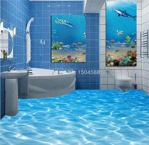 Seawater PVC Waterproof Vinyl Floor Mural, Self Adhesive, Custom Sizes Available Household-Wallpaper-Floor Maughon's