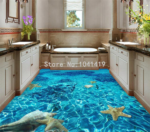 Image of Starfish Lagoon PVC Vinyl Floor Mural, Self-Adhesive, Custom Sizes Available Household-Wallpaper-Floor Maughon's