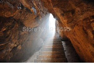 Stone Stairway in Cave Wallpaper Mural, Custom Sizes Available