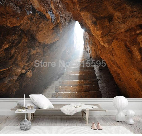Image of Stone Stairway in Cave Wallpaper Mural, Custom Sizes Available Household-Wallpaper Maughon's