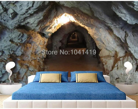 Image of Stone Wall Cave Tunnel Wallpaper Mural, Custom Sizes Available Household-Wallpaper Maughon's