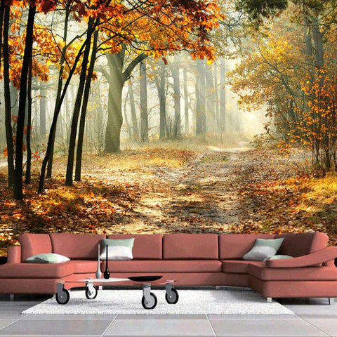 Image of Sunlit Autumn Forest Wallpaper Mural, Custom Sizes Available Household-Wallpaper Maughon's