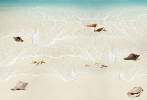 Surf and Seashells PVC Vinyl Floor Mural, Self-Adhesive, Custom Sizes Available Household-Wallpaper-Floor Maughon's
