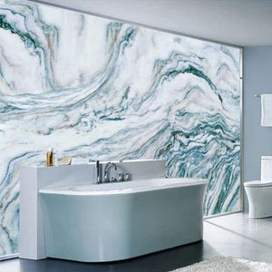 Teal, Gray and White Marble Wallpaper Mural, Custom Sizes Available