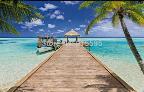 Image of Tiki Hut and Dock Beach Wallpaper Mural, Custom Sizes Available Household-Wallpaper Maughon's
