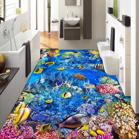 Tropical Fish, Sea Turtle, Dolphin Vinyl PVC Floor Mural, Self Adhesive, Custom Sizes Available Household-Wallpaper-Floor Maughon's