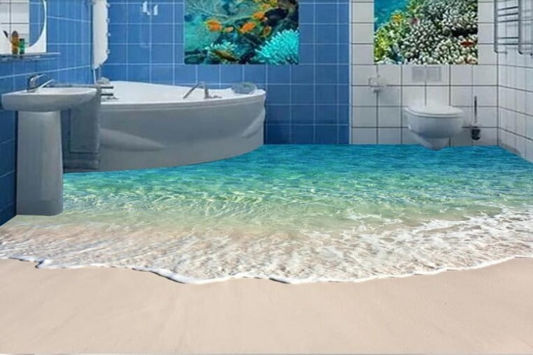 Turquoise Beach Vinyl PVC Floor Mural, Self Adhesive, Custom Sizes Available Household-Wallpaper-Floor Maughon's