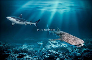 Under World With Sharks Floor Mural, Self Adhesive, Custom Sizes Available