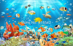 Underwater World Fish Coral Embossed Wallpaper Mural, Custom Sizes Available
