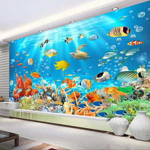 Underwater World Fish Coral Embossed Wallpaper Mural, Custom Sizes Available Household-Wallpaper Maughon's