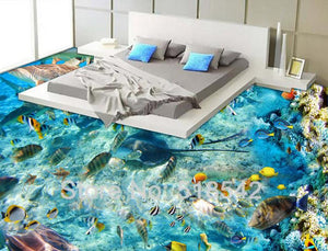 Underwater World Tropical Fish Coral Vinyl PVC Floor Mural, Self Adhesive, Custom Sizes Available Household-Wallpaper-Floor Maughon's