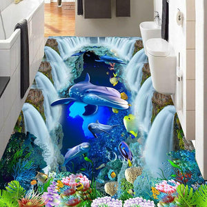 Underwater World Waterfall and Dolphin Floor Mural, Self Adhesive, Custom Sizes Available Household-Wallpaper-Floor Maughon's