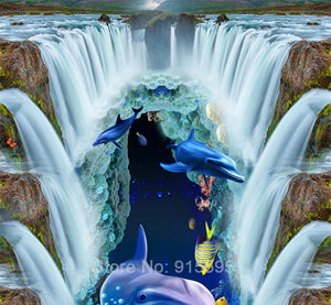 Underwater World Waterfall and Dolphin Floor Mural, Self Adhesive, Custom Sizes Available