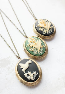 Lily of the Valley Cameo Locket - Green