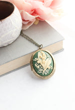 Load image into Gallery viewer, Lily of the Valley Cameo Locket - Green