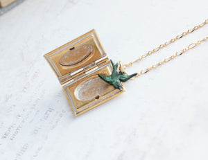 Bird and Book Locket Necklace