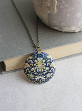 Load image into Gallery viewer, Dark Blue Floral Photo Locket