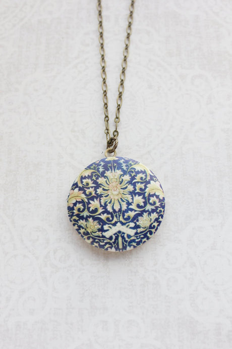 Dark Blue Floral Photo Locket