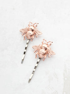 Bee Bobby Pins - Rose Gold (set of 2 pins)