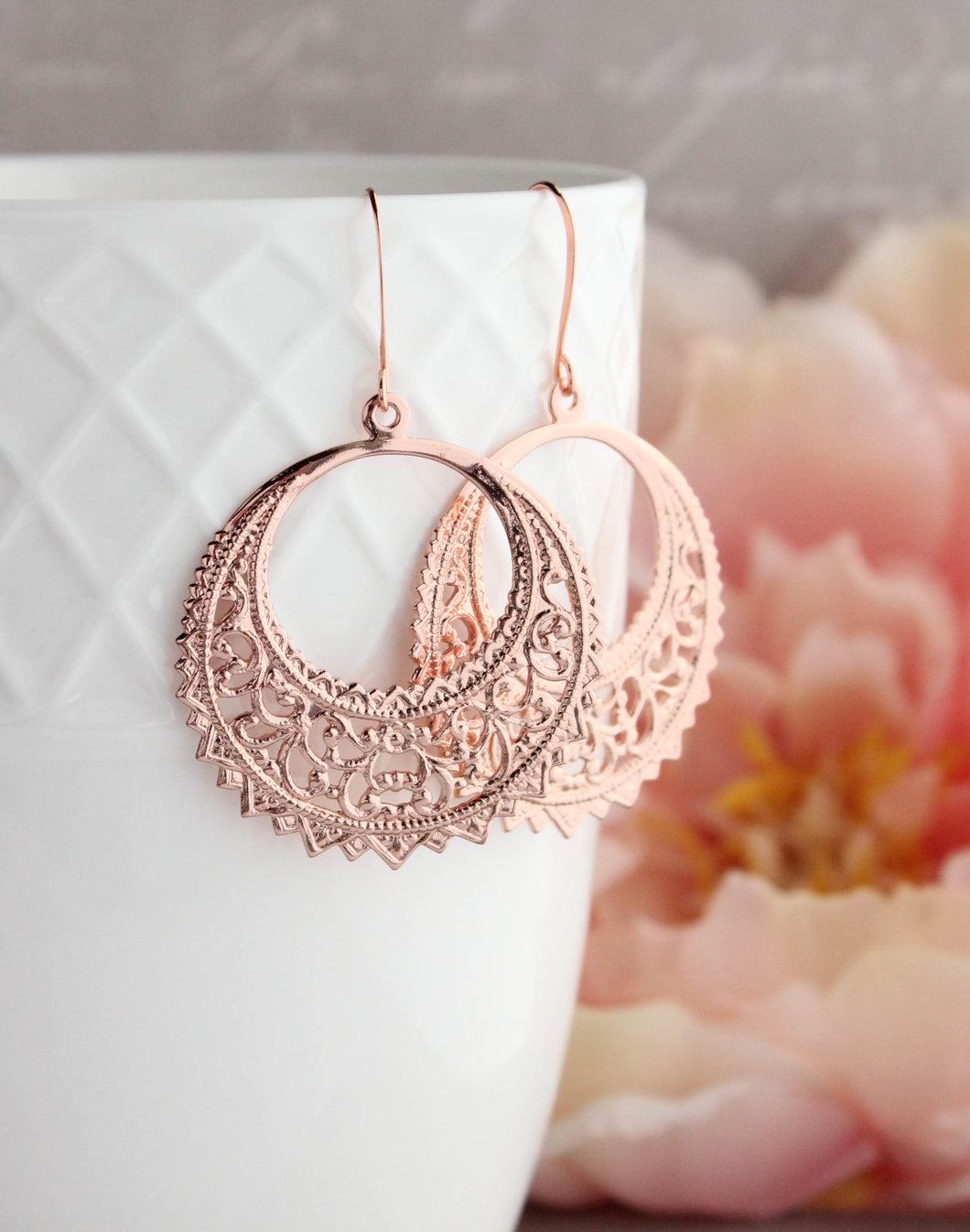 Round Filigree Earrings - Rose Gold