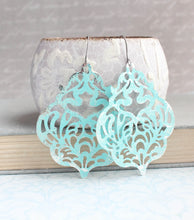 Load image into Gallery viewer, Damask Filigree Earrings - Aqua/silver