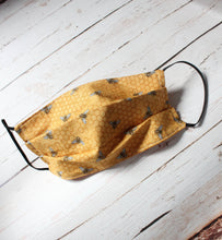 Load image into Gallery viewer, Honey Bee Pleated Cotton Face Mask*