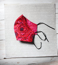 Load image into Gallery viewer, Two Sided - Hot Red Floral Face Mask