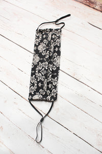 Pleated Cotton Face Mask - Black and Oatmeal Damask - nose wire/filter pocket